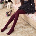 Women Ladies Knitting Cotton Blend Stripe Leggings Slim Stretch Footed Tights Pants Pantyhose
