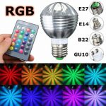 E27/B22/GU10/E14 5W Dimmable RGB Color Changing LED Light Bulb Remote AC85-265V