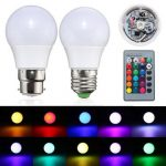 3W E27/B22 Dimmable RGB LED Light Color Changing Lamp Bulb 24 Key Remote AC 85-265V
