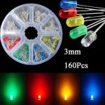 160 Pcs 3mm LED Diodes Yellow Red Blue Green Light Assortment DIY Kit