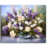 40X50CM Frameless Painting Lavender Flowers Canvas Linen Canvas Oil Painting DIY Paint By Numbersrs
