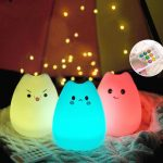 ARILUX Rechargeable Silicone 7 Colorful Cute Cat Animal USB LED Night Light Lamp Remote Control