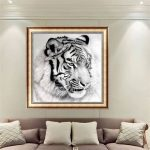 12×12 Inches Black-and-white Tiger 5D Diamond Painting Embroidery DIY Craft Home Decor