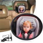 Adjustable Large Oval Wide View Mirror Child Baby Car Safety Headrest Mount 360 Degree
