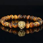8mm Loin Head Series Beads Elastic Bracelet For Men Jewelry Clothing Accessories