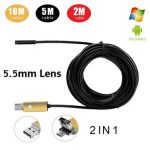 A99 6LED 5.5mm Lens Android PC Waterproof Endoscope Inspection Borescope Tube Wired Camera