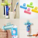 2pcs White Rolling Toothpaste Squeezer Toothpaste Tube Sucker Dispenser