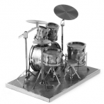 DIY 3D Puzzle Stainless Steel Assembly Model Drum Set Silver Color