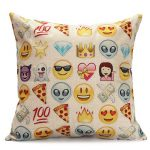 45x45cm Fashion Expression Emoji Throw Cotton Linen Pillow Case Sofa Cushion Decor