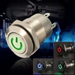 12V 2A 9.5mm Waterproof LED Metal Cap Power Momentary Push Button Switch Car DIY Modified