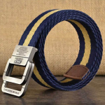130CM Mens Alloy Buckle Canvas Military Belt Outdoor Climbing Tactical Double Ring Buckle Belts