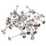 30Pcs Stainless Steel Tongue Nipple Barbell Bar Rings Piercing Body Jewelry