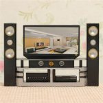 Hi-Fi TV Cabinet Set Combo For Doll House Furniture Living Room