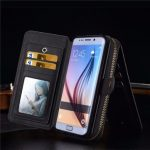 BRG Universal Removable Functional Wallet Case PU Leather HandBag Zipper Cover for Samsung Galaxy S6