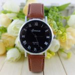 Women Casual Roman Number PU Leather Band Quartz Wrist Watch