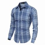 Mens Checks Pattern Slim Fit Turndown Collar Long Sleeved Dress Shirts