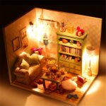 Hoomeda DIY Dream House Wood Dollhouse Miniature With LED Furniture Cover Room