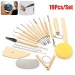 19Pcs Clay Sculpting Sculpt Smoothing Wax Carving Pottery Ceramic Tools Wood Set