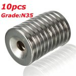10pcs N35 20x3mm Countersunk Ring Magnets With 5mm Hole Strong Neodymium Disc Magnets
