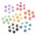 7PCS TRPG Game Dungeons Dragons Glitter D4-D20 Multi Sides Dice Pink