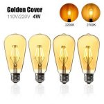 E27 ST64 4W Golden Cover Dimmable Edison Retro Vintage Filament COB LED Bulb Light Lamp AC110/220V
