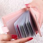 Women Hasp PU Leather 20 Name Card Holder Case Wallet Credit Card Bags Short Purse