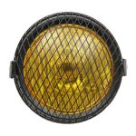 Motorcycle Side Mount Headlight Retro Amber Vintage For Cafe Racer w/Grill Cover