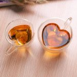 Heart Shape Clear Transparent Double Layer Glass Tea Coffee Cup Mug
