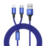 Baseus 3A Quick Charge Micro USB 8Pin Braided 1.2m Data Cable for iPhone 7/7Plus Samsung Xiaomi
