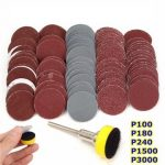 Effetool BG0355 100pcs 25mm 100-3000 Grit Sandpapers with Hook and Loop Backer Pad