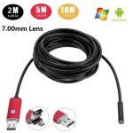 A99 6LED 7.0mm Lens Waterproof Endoscope Inspection Borescope Tube Wired Camera for Android PC