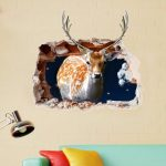 PAG 3D Christmas Deer Sticker Wall Decals Home 3D Christmas Wall Hole Decor Gift