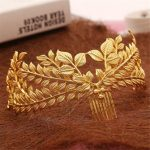 Bride Gold Leaf Headdress Headband Roman Hair Crown Vintage 20's Headpiece Comb