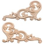 20x10CM Wood Carved Corner Onlay Unpainted Frame Decoration