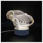 Loskii DL-3D9 Car USB Battery 3D LED Lights Colorful Touch Control Night Light Home Decor Gift