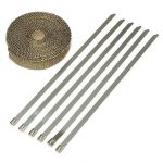 7.5mX2.5cmX1.6mm Titanium Motor Car Insulation Exhaust Header Heat Wrap With Stainless Ties Kit