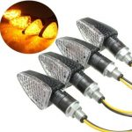 4pcs E-Mark Motorcycle Turn Signal 15 LED Indicators Light Bulb Carbon