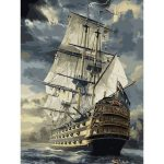 40X50CM Frameless Sailing At Sea Canvas Linen Canvas Oil Painting DIY Paint By Numbers