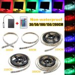 30/50/100/150/200CM 5050 RGB LED Flexible Strip Light Remote Battery Powered Party Home Decor DC5V