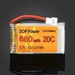 ZOP Power 3.7V 680mAh 1S 20C Lipo Battery White Plug