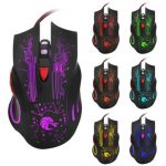 HXSJ H700 Fire Bird 6D 5500 DPI Colorful Backlight Wired Optical Gaming Mouse