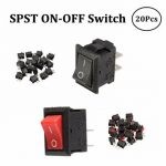 20pcs 250V 3A Mini Boat Rocker Switch 2-Pin Plastic Button ON/Off SPST