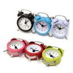 Mini Classic Double Bell Alarm Clock Traditional Quartz Movement With Night Light
