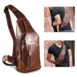 Men Genuine Leather Business Casual Brown Black Shoulder Crossbody Bag