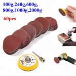 Effetool BG0300 2 Inch 50mm Hook and Loop Sanding Pad 3mm Shank with 60pcs Sand Paper