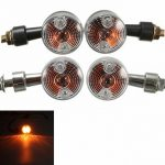 2X Universal Mini Retro Motorcycle Front Turn Signals Lights Indicators Abmer