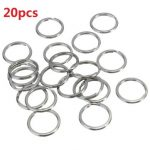 20pcs Split Key Ring Shiny Bright Silver Plated Steel Nickel Hoop Loop Round