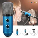 Audio USB Condenser Sound Studio Recording Vocal Microphone With Stand Mount