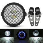 6.5inch Retro Motorcycle LED Front Headlight Grill with Mount Bracket Cafe Racer