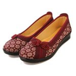Women Flat Flower Casual Slip On Soft Cloth Loafers